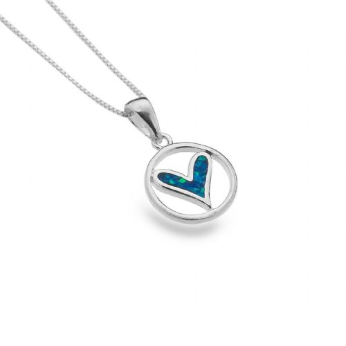 Blue Opal Heart Pendant Sterling Silver 925 Hallmarked All Chain Lengths